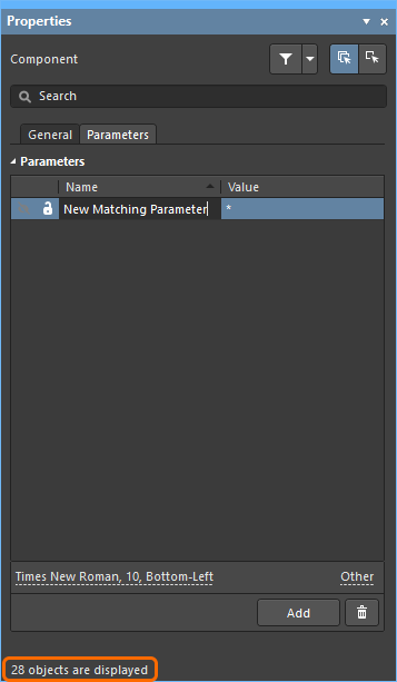 Schematic library editor Properties panel, being used to add a new parameter to all parts in the library