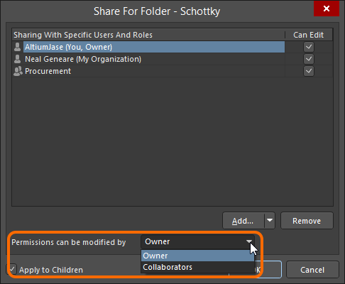 Specify sharing control for a folder.
