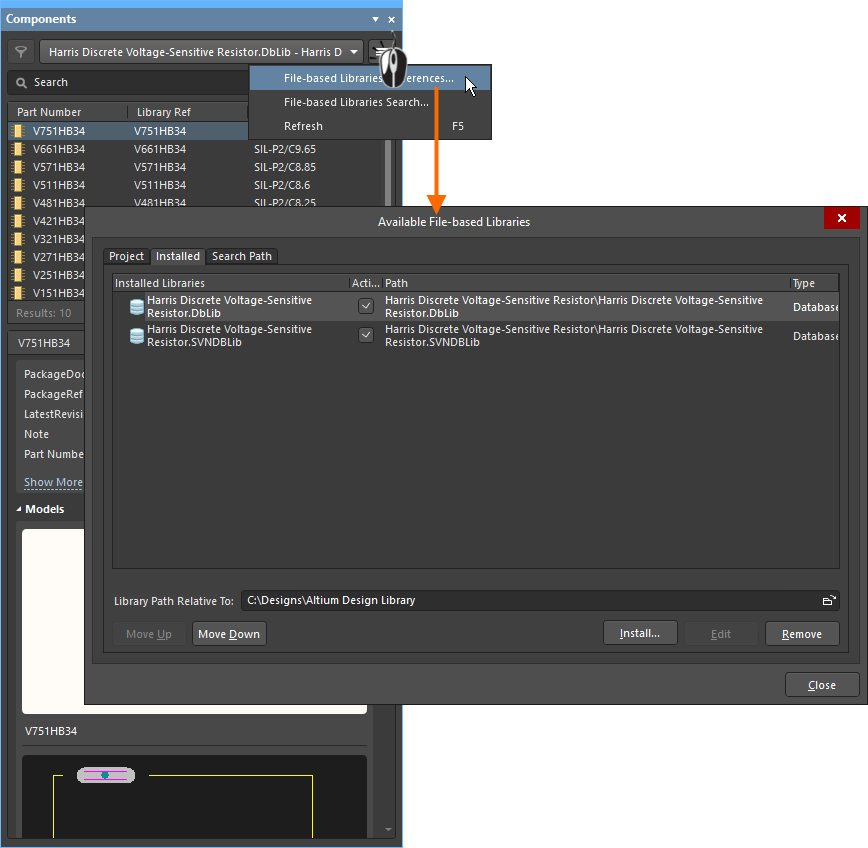 Database libraries are made available by adding them in the Available File-based Libraries dialog