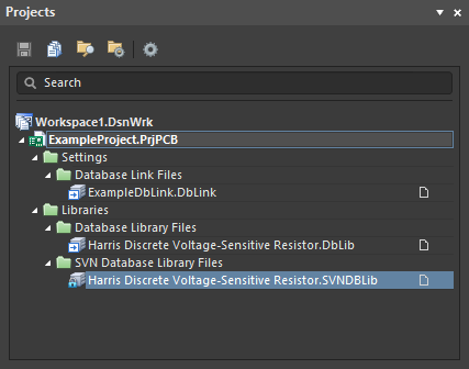 Projects panel showing where each type of database link/library file is included in the project structure