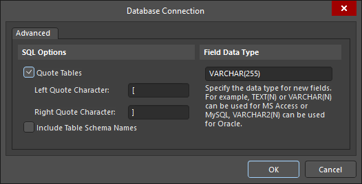 Mapping between the component parameters and the database, using a Where clause