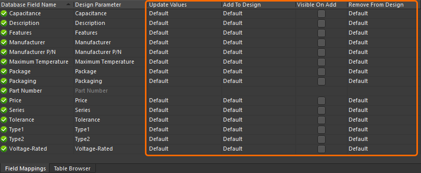 Field Mappings tab of the database library file, showing where the update behavior is configured