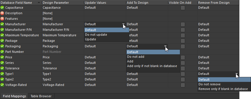 Field Mappings tab, showing the options available to resolve the situation when a database field does not match a parameter
