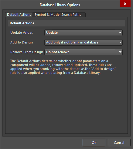 Database Library Options dialog, showing the Default Update options