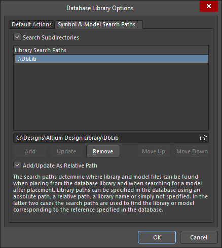 Database Library Options dialog, configuring the search paths for the symbol and footprint models