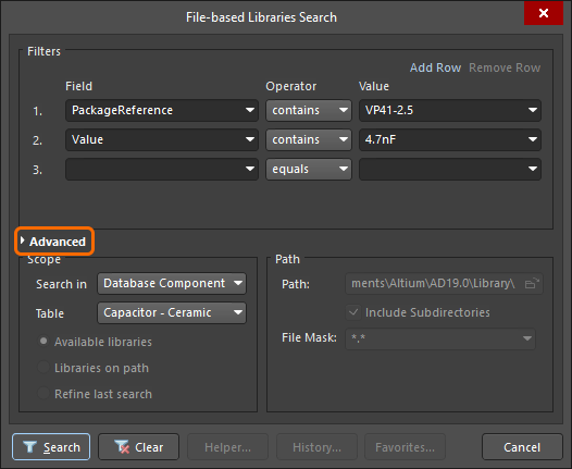 Click Advanced in the File-based Libraries Search dialog to perform a SQL-based query search