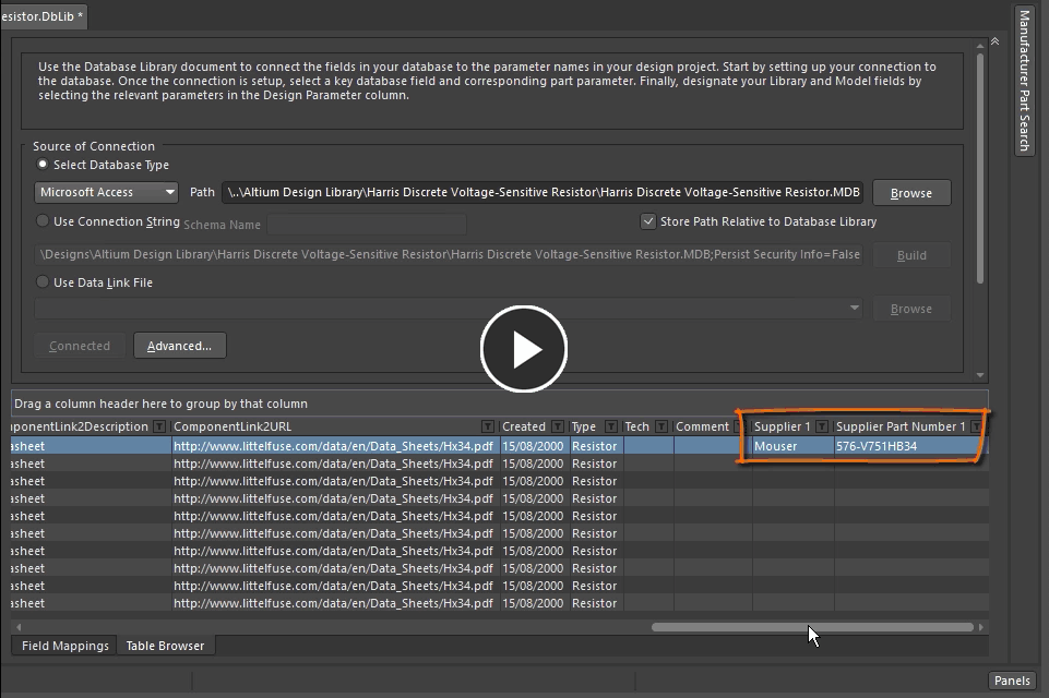 Demonstration video showing how a supplier link can added to the database record, in the Database Library editor