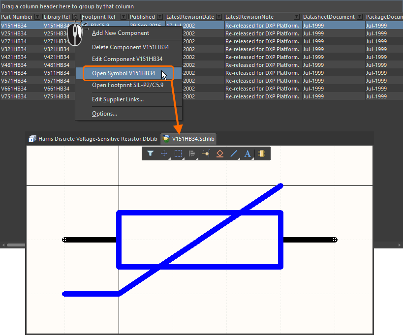 The referenced schematic symbol can be opened for editing from the Database Library file