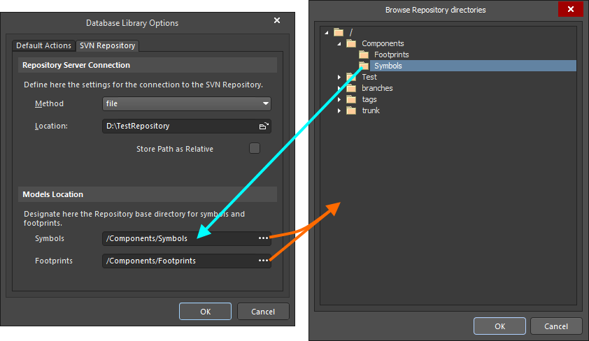 Configure the location of the symbols and footprints in the SVN repository