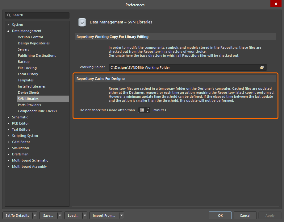 The frequency that the repository cache is refreshed is configured in the Preferences dialog