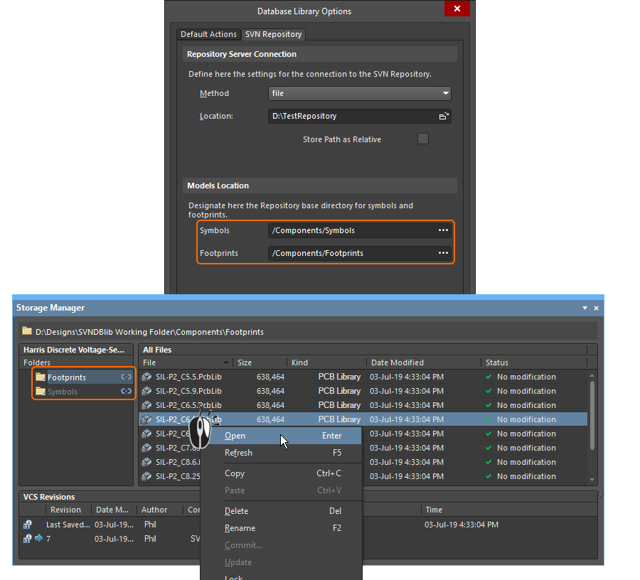 The Storage Manager panel shows the model files checked out in the SVN working folders