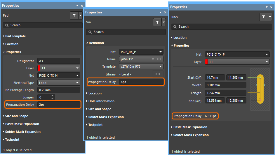 Define the propagation delay for pads and vias, examine the delay for other routing objects.