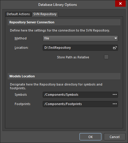 Database Library Options dialog, configuring the SVN repository settings