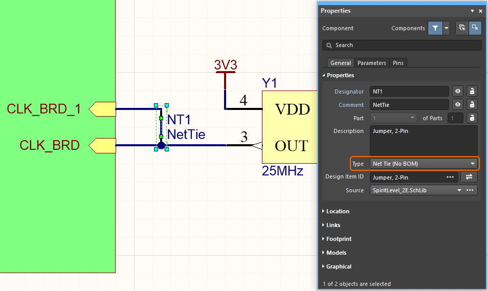 A Net Tie (component type) is used to intentionally connect 2 nets on the schematic