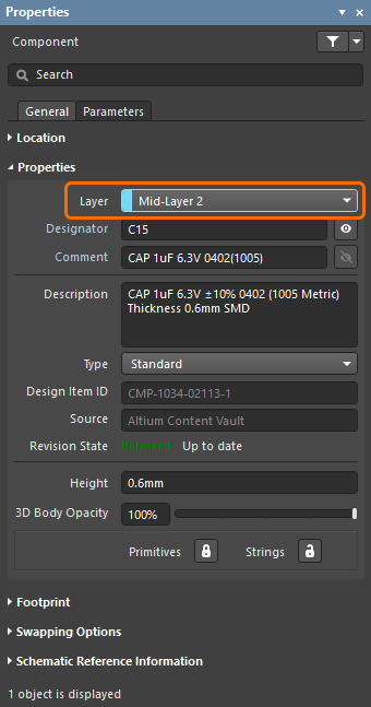 Properties panel, showing how the component's layer is set
