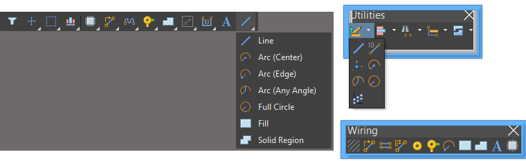 PCB primitive objects can be placed from the Active,Utilities, andWiring toolbars.