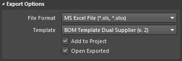 Select the required Excel file format option, then select the required Excel template