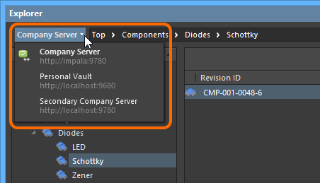 Доступ к элементам управления для изменения используемого сервера. Текущий сервер отображается жирным шрифтом.