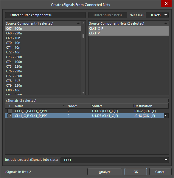 Use the dialog to create xSignals that span across a selected series component.  In this example, two possible xSignals were proposed, only one is going to be created.