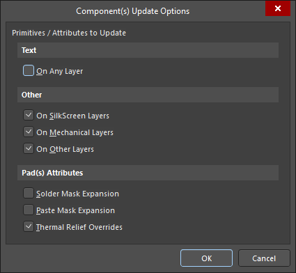 The Components Update Options dialog