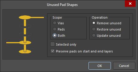 The Unused Pad Shapes dialog