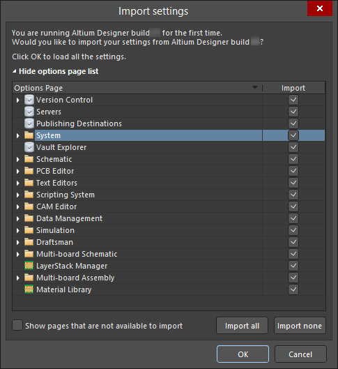 Import settings from your previous version's installation.
