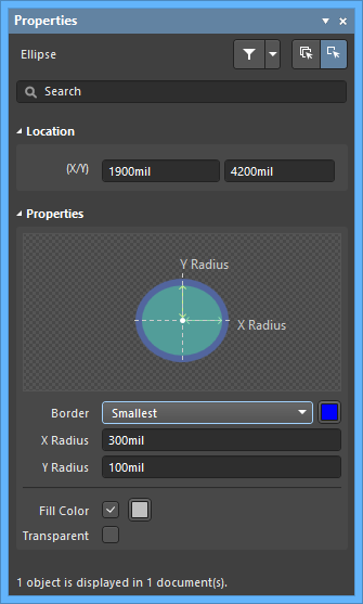 The Ellipse dialog, on the left, and the Ellipse mode of the Properties panel on the right