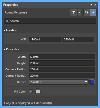 The Round Rectangle dialog, on the left, and the Round Rectangle mode of the Properties panel on the right