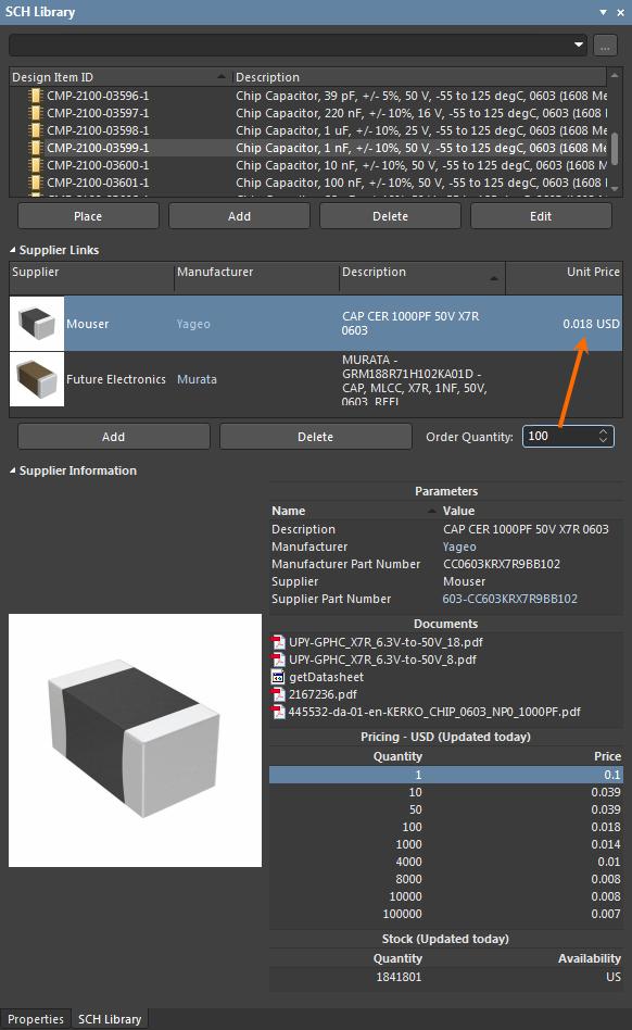 Linking to Supplier Data | Altium Designer 20 0 User Manual