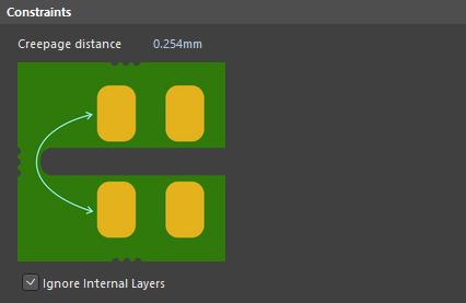 Default constraints for the Creepage distance rule.