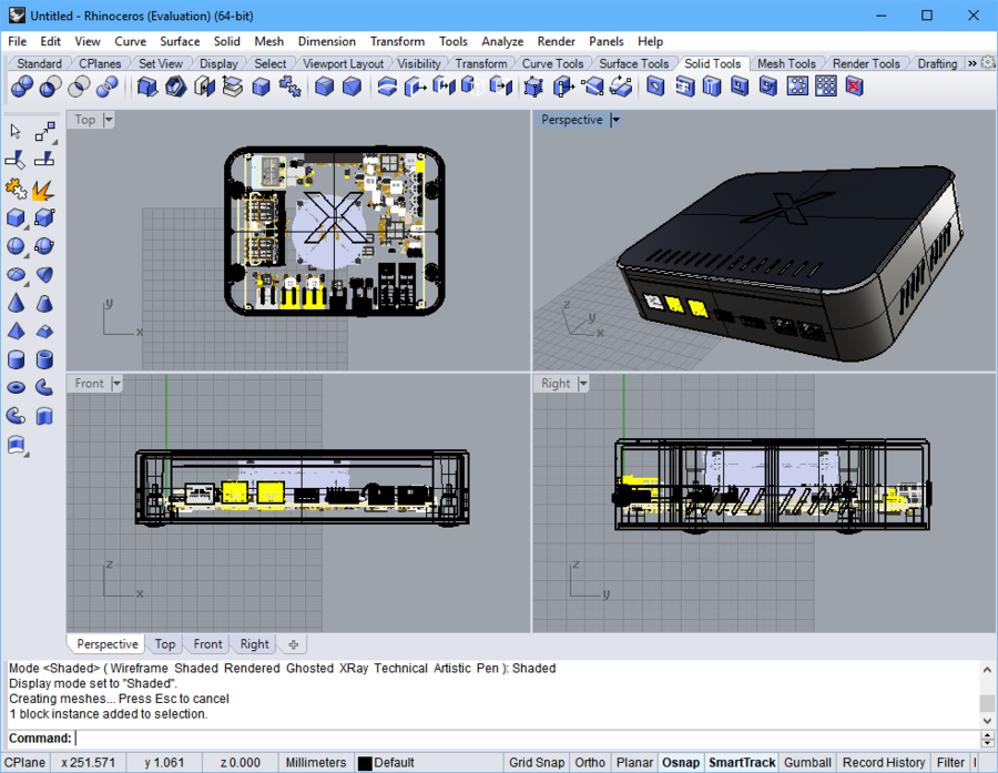 An example of the STEP file of the multi-board assembly opened in the Rhinoceros MCAD editor.
