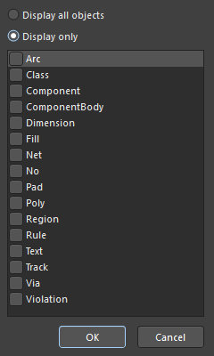You can select displaying all types of objects in the panel, or displaying only objects of particular type(s).