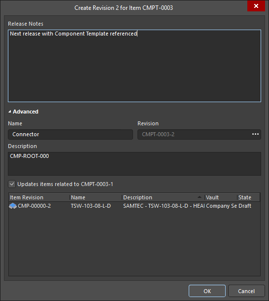 The Create Revision dialog