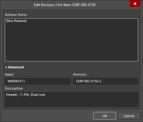 The Edit Revision dialog
