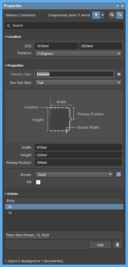 The Harness Connectordefault settings in thePreferences dialog and the Harness Connectormode of the Properties panel