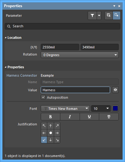 The Harness Connector Type default settings in thePreferences dialog and the Parametermode of the Properties panel