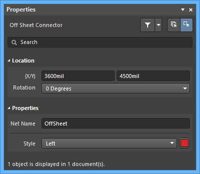The Offsheet Connectordefault settings in thePreferences dialog and the Off Sheet Connectormode of the Properties panel