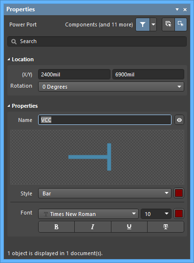 The Power Objectdefault settings in thePreferences dialog and the Power Portmode of the Properties panel