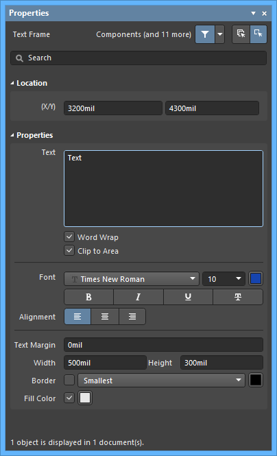 The Text Framedefault settings in thePreferences dialog and the Text Framemode of the Properties panel