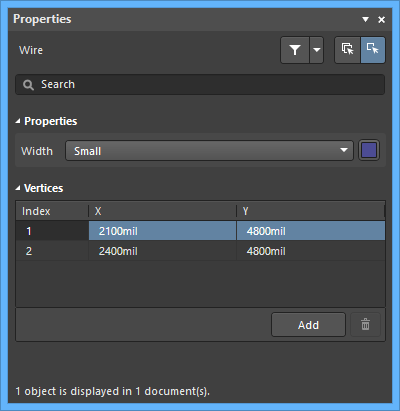 The Wiredefault settings in thePreferences dialog and the Wiremode of the Properties panel