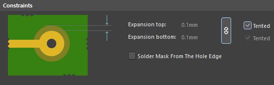 Default constraints for the Solder Mask Expansion rule.