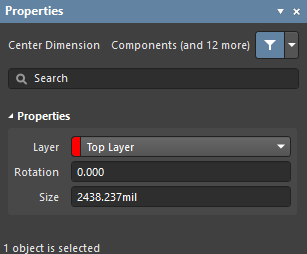 The Center Dimension dialog on the left and the Center Dimension mode of the Properties panel on the right.