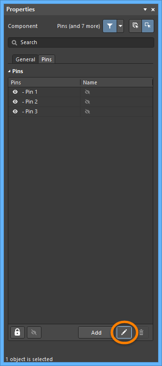Use the highlightedbutton on the Pins tab of the Properties panel to open the Component Pin Editor dialog.