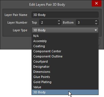 Выберите тип слоя из предопределенного списка. На первом изображении показаны отдельные механические слои, на втором – пары слоев компонента, на третьем – новый слой компонента.