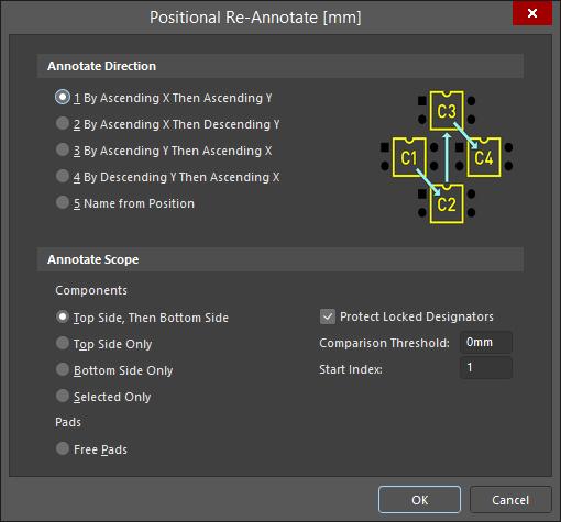 Диалоговое окно Positional Re-Annotate включает в себя графическое представление каждого метода.