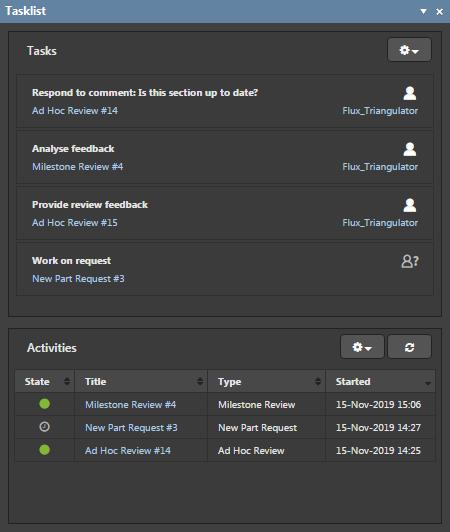 Tasklist panel showing Tasks
