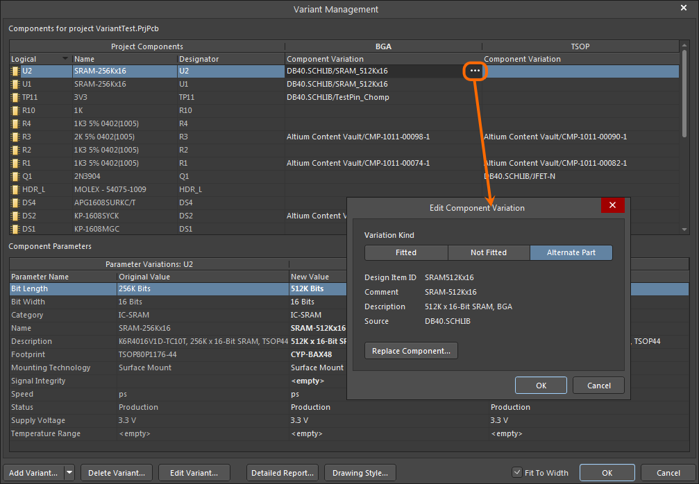 Variant Management, configuring an Alternate Part variation