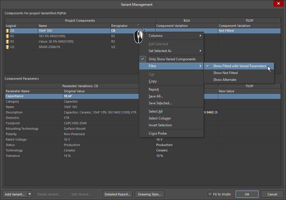 Variant Management dialog, filtering to show varied parameters, then resetting varied parameters