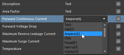 Выбор поддерживаемого типа данных с единицами измерения для пользовательского параметра в шаблоне компонента. В этом примере задан тип параметра Ampere.