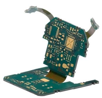 A rigid-flex circuit, designed to tightly integrate into its enclosure.